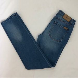 7 For All Mankind high rise blue skinny jeans